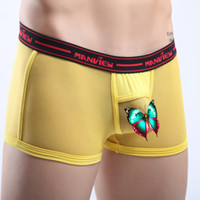 Men Nylon Boxers & Boy Shorts Free Shipping Manview New Sexy Men's See-Through Fashion Underwear Boxer Shorts 3 Size S M L F3394
