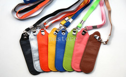 Wholesale E cig Lanyard Portable PU Leather Carrying Pouch Pocket Neck Sling Rope Round Corner Case Cover for ego electronic cigarette CE4 and battery