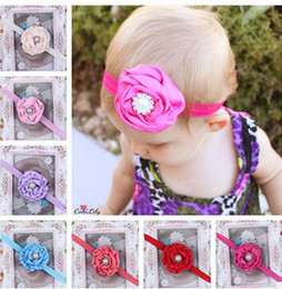 Wholesale Children Pearl Rhinestone Centre Flower Headband Rose Flowers Girls Baby Headbands Elastic Hairbands