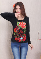 Women Cotton Polo Free Shipping New arrival 2013 autumn national trend flowers long-sleeve women xxl t shirt fashion embroidered blouse YK9288