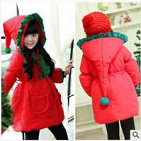 Coat Girl Winter 2014 NEW kids Christmas thick cotton spirit Magic coat girl Children's girls outwear hoodie red winter overcoat B1405