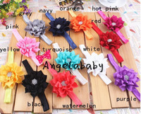 Wholesale Baby Rhinestone Centre Flowers Headband Fabric Flower Girls Elastic Headbands Children Hair Accessories Hairbands