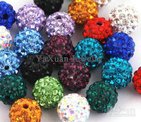 Wholesale 100pcs mm Colorful Clay With Crystal Rhinestone Shamballa DISCO Loose Beads For Bracelet And Necklace Jewelry Beads Mix Color DIY