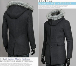 Wholesale Black gray two colors Men unloaded detachable fur collar wool coat hat fashion Outerwear