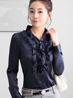 Women Silk Long Sleeve Elegant Navy Blue Ruffled V-Neck Long Sleeves Imitated Silk Shirt mens dress shirts #u8-boS