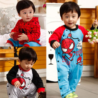 Cheap Spring.Autumn Baby Boys Cool Romber Children Long Sleeve Spider-Man Jumpsuits Kidswear One-piece Clothing 3 Color 4Pcs Lot
