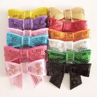 Sequins plastic tiaras - Fashion Bow Barrettes Hair Clips Sequin Bows Clip Boutique Bows Hair Accessories
