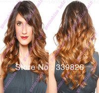"""8 multi-colored Wig,Half Wig Celebrity wig ! 20"""" two tone ombre color loose wave 100% malaysian human hair thin skin full lace wigs Free shipping."""