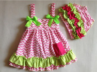 Girl chevron clothing - christmas lace chevron baby tutu dress cotton floral bloomers ruffled pants toddler fashion clothing set
