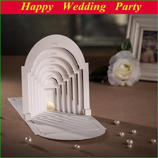 3d romantic couples in palace wedding invitations white for 3d printer wedding invitations