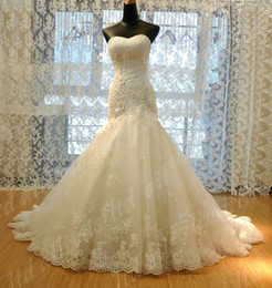 Wholesale 2014 New Crystal Wedding Dress Lace Empire Beaded Mermaid Bridal Gown lace up long dresses