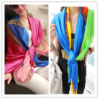 Wholesale Brands New Women Satin Silk Scarf Panelled Printed Shawls Sunscreen Beach Sarong Fashion Pashmina For Ladies SM1110