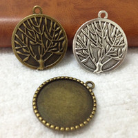 Wholesale inner mm Alloy Metal Antique Silver bronze Tree Blank Pendant Tray Base Jewelry Base Cameo Setting