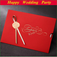 Invitation Cards Flat Card red Red Creative Personalized Wedding Card Invitations with Ribbon & Envelope & Seal & free printing & free shipping