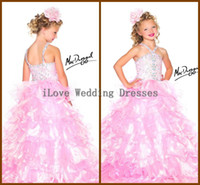 Wholesale Mac Duggal Girls Pageant Dresses Sweep Train Sleeveless Ball Gowns Organza Pink White Crystals Beaded Plus Size Custom Made Y48022