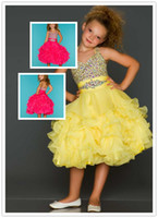 Wholesale 2014 Dhgate Girl s Pageant Dresses Hot Pink Yellow Halter Bead Chiffon Princess Flower Girl Dresses