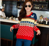 Wholesale Xmas Wool Womens Sweater Christmas Jumper Deer Reindeer Santa Retro Knitted Sweaters Red or Blue