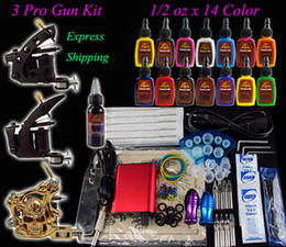 Wholesale Complete Tattoo Kit Pro Machine Guns Inks Power Supply Needle Grips