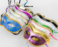 Wholesale Half Face Mask Halloween Masquerade mask female Party makeup mask macrame Plating powder colourful mask