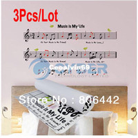 Wholesale 3Pcs Fashion Music Note Musical Notation Pattern Decorative Self Adhesive PVC Wall Sticker Wall Art Decor