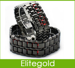 Wholesale Mens Womens Lava Style Iron Samurai LED Metal Watch Electronics Watches Colors in stock DHL