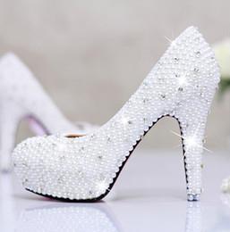 2017 perles de diamant hauts talons 2015 Nouveau Mode étanche ultra chaussures hauts talons diamant blanc perle chaussures de mariée chaussures perlée de mariage budget perles de diamant hauts talons