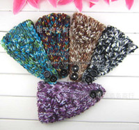 Headbands Mix color Europe and America Girls Flower headwrap Earband Headwear Winter Headband Women knitted headband with Flower Hair Accessories