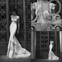 Trumpet/Mermaid Model Pictures Sweetheart 2014 Sexy Mermaid Berta Bridal Gowns Cap Sleeve Backless Appliques Embroidery Sweep Train Satin Elegant Wedding Dresses White Ivory Customed
