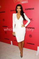 Reference Images V-Neck Silk 2014 Kim Kardashian Sexy White V Neck Long Sleeve Evening Dresses Puff Shoulder Mini Skirt Sheath Formal Gowns Celebrity Dresses K34