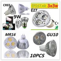 Wholesale 9W Dimmable LED Bulb W Bulb W LED Bulb Light GU10 MR16 E27 E14 B22 LED Spotlights CREE LED Lights x3W Energy saving Bulb Led Light Bulb
