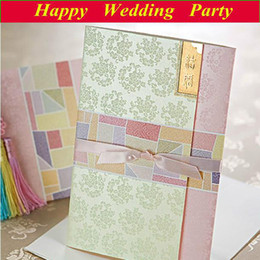 Wholesale 2014 Korean Design Wedding Invitation Floral Card Envelope Seal sets with free custom printing
