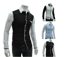 Wholesale 2013 Winter NWT Men s Casual Shirts HIgh Quality Fit Slim Long Sleeve fashion Patchwork Shirts