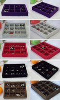 Wholesale 12 Grids Jewelry Organizer Tray Ice Velvet Jewelry Box One Color from Red Grey Brown Black Purple