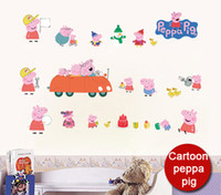 Wholesale funlife x80cm x32in Classic Cartoon peppa pig Wall Sticker Nursery children Favorite bedroom Home Decoration FL361001