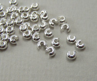 Wholesale 4mm Silver Tone Crimp Bead Covers jewelry finding silver curve bead covers