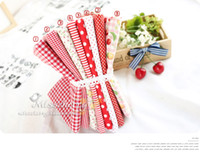 Wholesale 8pcs cm cm red series design cotton fabric bundle DIY cotton partchwork fabric Freeshipping