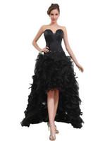 Wholesale New York Dress Woman Satin Organza Beading Feather Sweetheart New York Dress Length Prom Dress