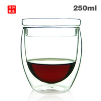 Wholesale 2013 new style contains the lid of the double wall glass coffee cup mug tea cup ml