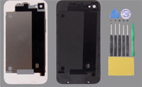 Wholesale White Black Glass Back faceplates shell Housing Rear Battery door cover with tools for iPhone S