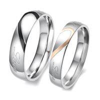 al por mayor amantes corazones-S5Q Nueva forma de corazón de titanio a juego de los amantes de acero anillo de promesa Bandas de boda de los pares AAAAZV