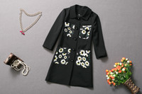 Wholesale elegant traditional European Slim medium long outwear upper garment flower painting pocket woman s woolen coat