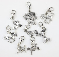 lobster claw - New Tibetan Silver Mix Horse Lobster Claw Clasp Alloy Charm Beads Dangle Loose Beads Fit Necklace