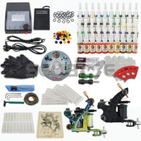 Wholesale Tattoo Kit T008 Color Ink Machine Gun Power Supply Needles Set Equipment