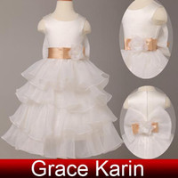 Wholesale New Fashion Flower Girl Dresses Organza Ruffles Layers Jewel Little Girls Birthday Dresses Party Gown CL4841