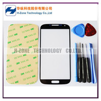 black air tools kits - HK Post Air Freeshipping Black Color Galaxy SIV S4 I9500 Outer Glass Lens Touch Screen Replacement Adhesive Tools Kits