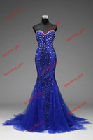Wholesale Actual Image Prom Dress Sweetheart Mermaid Sequins Fabric Crystals Beads Sexy Pageant Evening Dresses Formal Pageant Dress Gown