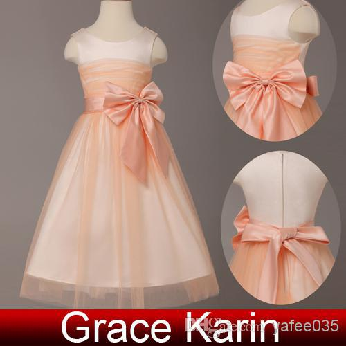 Light Orange A Line Bow Knot Flower Girl Dresses Jewel