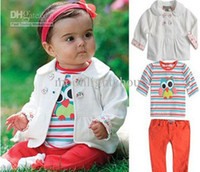 Girl Spring / Autumn  Wholesale - 2013 baby girls suits kids children owl suit coat+ t shirt+ pants 3 pc set girls clothes QZ3023 it 0818 A
