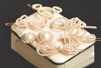 Wholesale Fashion Charming Korean Style Gold Plated Alloy Pearl Bowknot Leaf Circle Cat styles Lovely Hair Clips Pairs