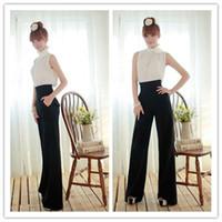Pants Women Bootcut New Chic Ladys Slim High Waist Flare Wide Leg Long Career Pants Palazzo Trousers